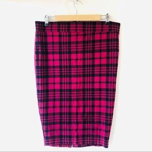 TORRID maroon and black plaid pencil skirt 12-14